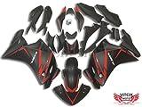 VITCIK (フェアリングキット 対応車種 ホンダ Honda CBR250RR 2011 2012 2013 2014 CBR250 RR 11 12 13 14) プラスチックABS射出成型 完全なオートバイ車体 アフターマーケット車体フレーム 外装パーツセット(ブラック & レッド) A003