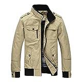 Skyp ミリタリージャケット メンズ スタンドカラー ライダースジャケット コート スウェット 長袖 綿 防風 秋冬