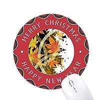 カエデの葉の幾何学の花のパターン 円形滑りゴムのクリスマスマウスパッド