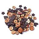 QIN 木のボタンセット ウッドボタン 福袋 カラフル アンティーク調 手芸 手作り ボタン 2つ穴 100枚セット 手芸に最適 選べる3色 コーヒー