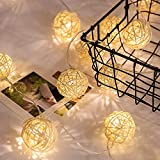 Rattan Ball Fairy String Lights 10 LED 1.7M, Battery Powered, Waterproof, ANGELCARE Xmas Lights for Christmas Trees, Wedding, Party, Home Décor, New Year, Garden, Bedroom, Wall Decoration, Warm White