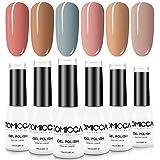 TOMICCA Gel Polish Nail Art Set, 6 Colors Soak Off UV LED Manicure