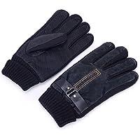 natworld新しい冬メンズレザーソフト暖かい手袋滑り止めPalmバックル伸縮性カフ秋冬厚みベルベット暖かい手袋