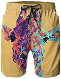カラフル キリン メンズ サーフパンツ 軽い 海水パンツ ビーチパンツ ハーフパンツ ショートパンツ 吸汗 速乾 オシャレな柄 部屋着 海水浴