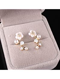 Niome 1 Pair Fashion Elegant Crystal Rhinestone Leave Pearl Ear Stud Earrings Women's Lady Fashion Jewelry Gift