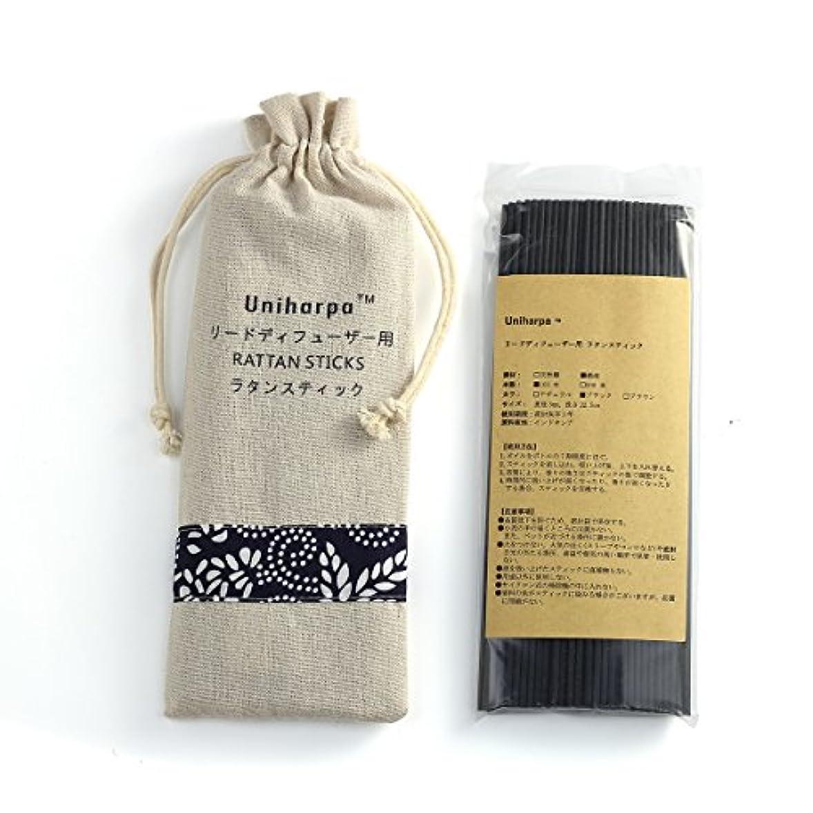 オプショナルコメント異議リードディフューザー用 ラタンスティック/リードスティック リフィル 繊維素材 22.5cm 直径3mm 100本入 乾燥剤入り オリジナル旅行専用袋付 (ブラック)