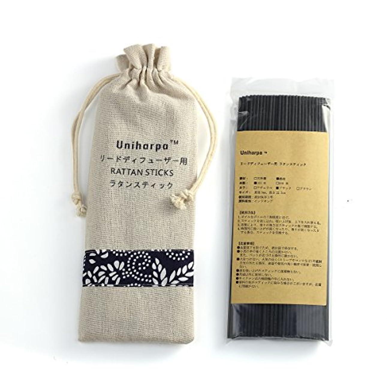 たくさんの動員する離婚リードディフューザー用 ラタンスティック/リードスティック リフィル 繊維素材 22.5cm 直径3mm 100本入 乾燥剤入り オリジナル旅行専用袋付 (ブラック)