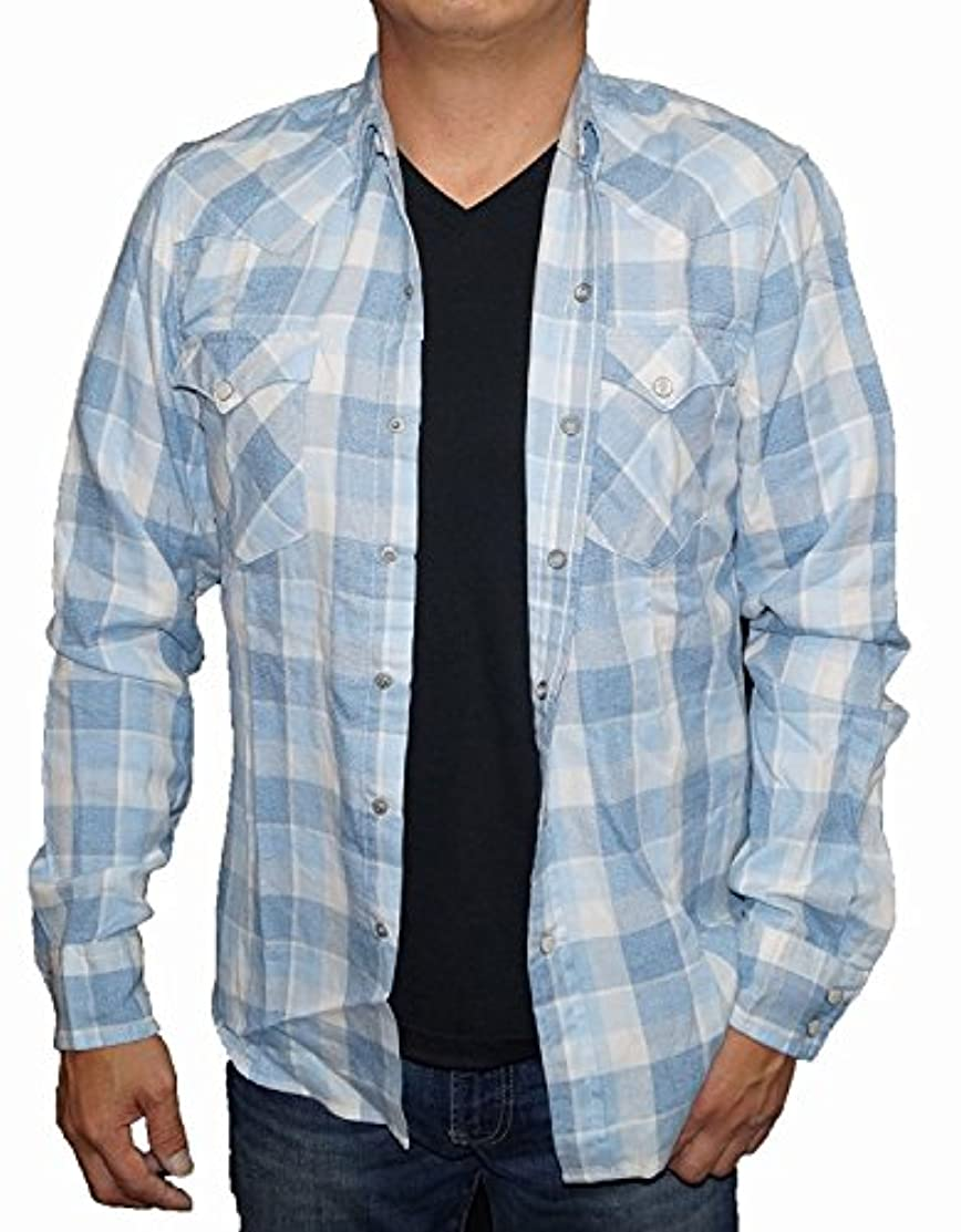 困惑した摂氏度値するリーバイス Levis 長袖シャツ ウエスタン 白青 チェック メンズ 66986-0056