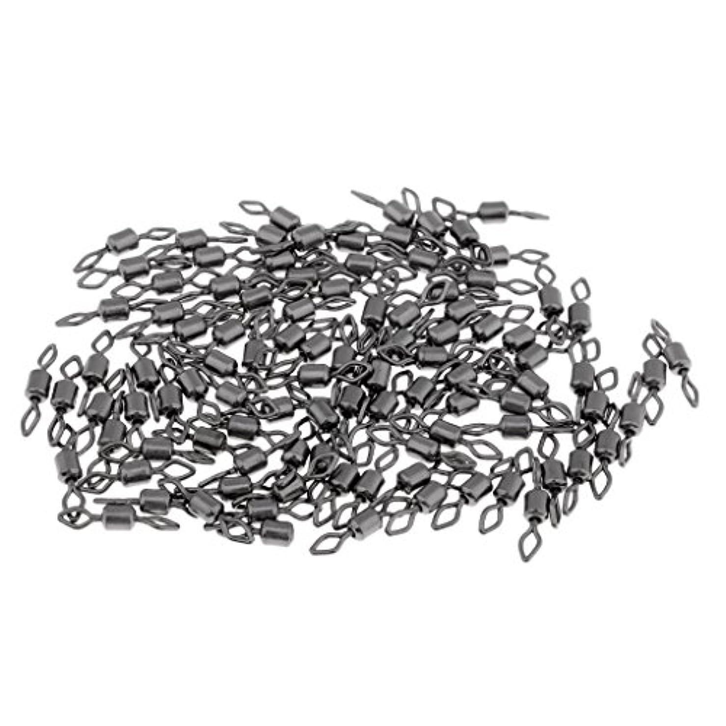 教育者虚偽接辞SM SunniMix 釣りスイベル ローリング フック 釣り糸 回転 クイックロック 耐食性 ブラック 100本 多サイズ