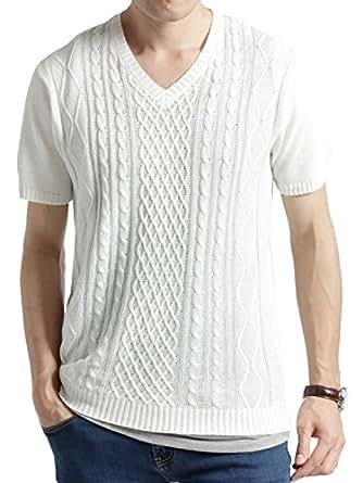 (オークランド) Oakland フィッシャーマン サマーニット 半袖 長袖 サマー カットソー メンズ オフホワイト Lサイズ