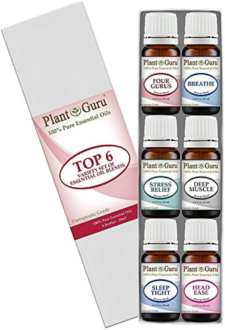 裂け目薄いです笑Essential Oil Blends Variety Set Kit By Plant Guru - - 100% Pure Therapeutic Grade 10ml. Set Includes- (Bandit Thieves), Breathe, Stress Relief, Deep Muscle, Sleep Tight, Head Ease.) by Plant Guru