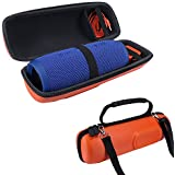 PU Carry Travel Protective Speaker Cover Case Pouch Bag For JBL Charge 3 Charge3 Extra Space for Plug & Cables (Orange) (Orange)