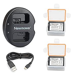 Newmowa NP-FW50 互換バッテリー 2個+充電器 は NP-FW50 Alpha a5000 a5100 Alpha a6000 a6300 a6500 Alpha 7 a7 7R a7R a7RM2 7S a7S aNEX-5 aNEX-5N aNEX-5R NEX-5 ILCE-QX1 Cyber-shot RX10 IV
