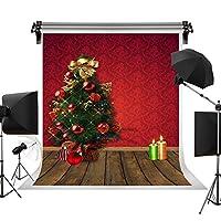 Kate 5x7ft/1.5x2.2m クリスマスの背景 赤いパターンの背景 クリスマスツリー 背景シート 木製のボードの背景 キャンドル 写真撮影用の背景幕 写真スタジオ 綿 装飾用 無反射布 撮影用背景布 背景紙 カスタマイズ可能様々な背景