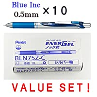 Pentel EnerGel Deluxe RTX格納式Liquid Gelペン, 0.5 MM, FINE LINE、ニードルtip-ブルーink-japaneseボックスof 10 (with our shop original product description)