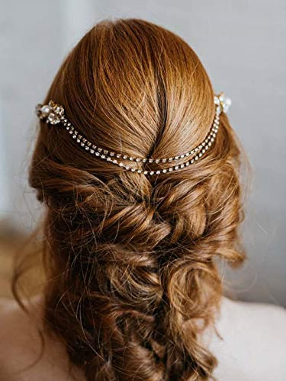 音楽家タイルビットAukmla Wedding Hair Accessories Flower Hair Combs with Chain Decorative Bridal for Brides and Bridesmaids (Silver...