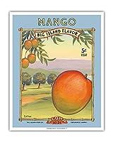 """マンゴー -""""アロハ""""種子 - ビッグアイランドシードカンパニー - ビッグアイランドフレーバー - ヴィンテージシードパケット によって作成された カーン・エリクソン - アートポスター - 41cm x 51cm"""