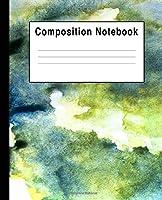 Composition Notebook: Blue & Green Watercolor Splats Art