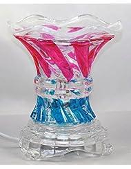 マルチカラー( es237 ) ElectricガラスフレグランスScented Oil Warmer ( Burner / Warmer /ランプ) withディマースイッチピンクブルー