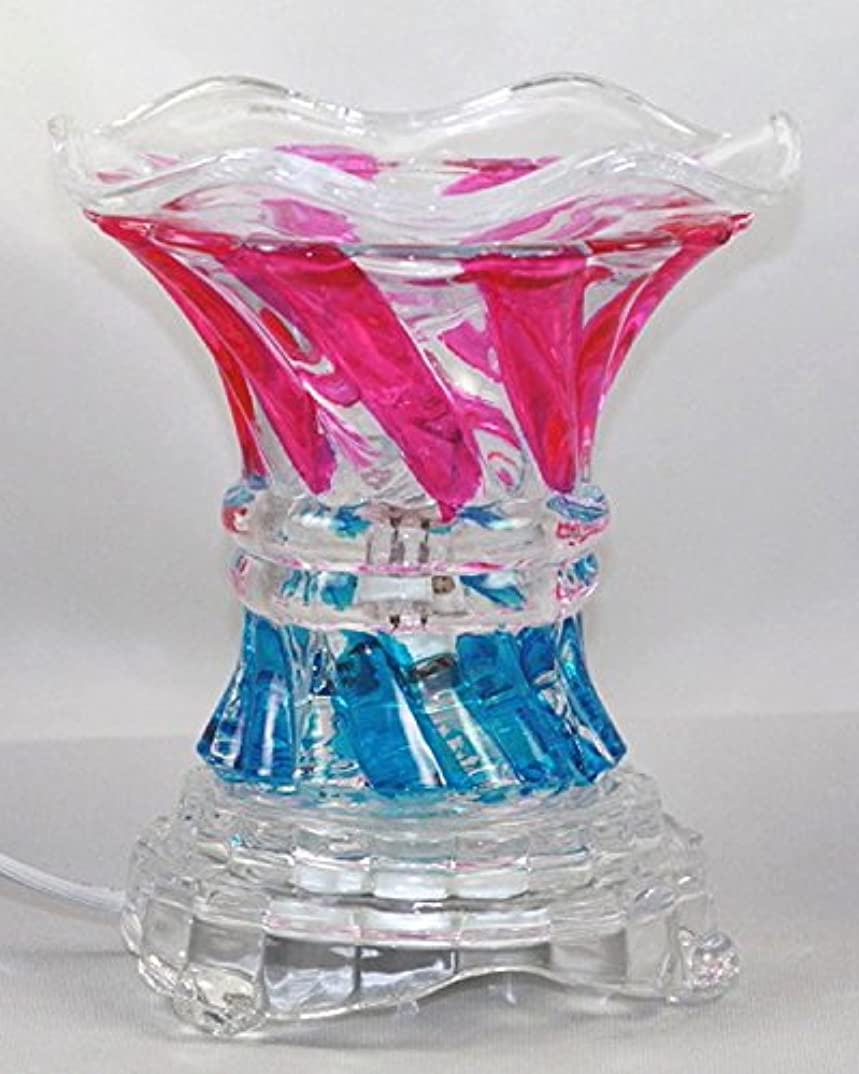 掃除資料鮮やかなマルチカラー( es237 ) ElectricガラスフレグランスScented Oil Warmer ( Burner / Warmer /ランプ) withディマースイッチピンクブルー