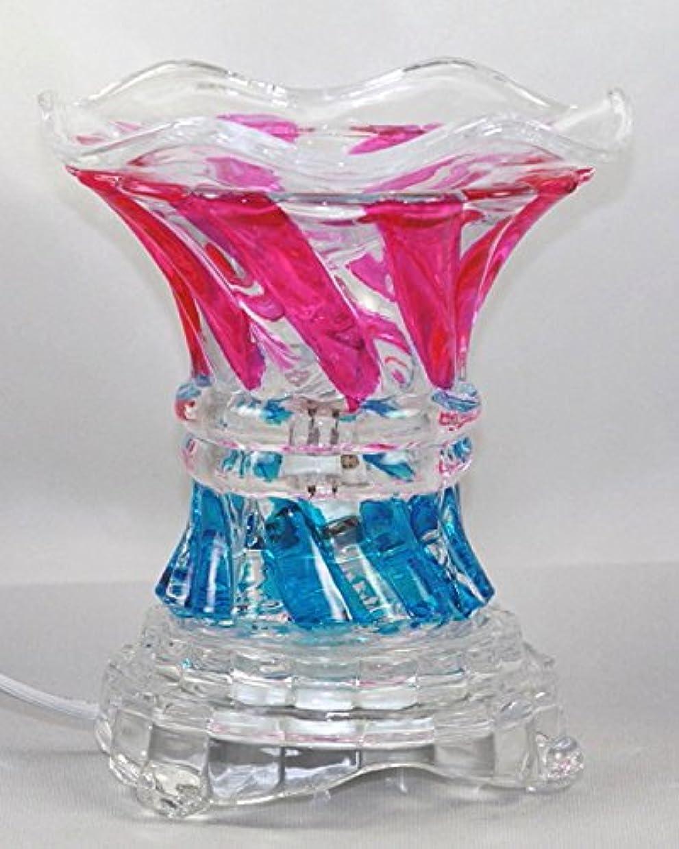 湿原次へコンテンポラリーマルチカラー( es237 ) ElectricガラスフレグランスScented Oil Warmer ( Burner / Warmer /ランプ) withディマースイッチピンクブルー