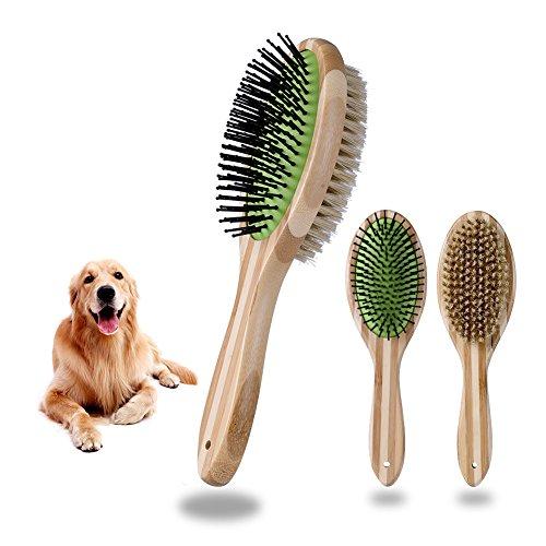 Petacc ペット美容ブラシと針梳 猫用ブラシ 柔らか豚毛 竹木製ハンドルペット マッサージ美容工具 両用 犬と猫の長毛短毛に適す (ブラシと針梳)