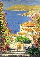 イタリア絵画 油絵 マルコ 作 「ギリシャの海岸沿い風景」 風景画 インテリア リビング