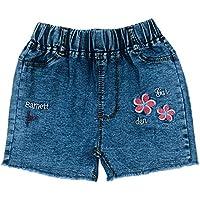 Peacolate 4-8T Little&Big Kids Girls Emboridery Flower Floret Denim Shorts Jeans