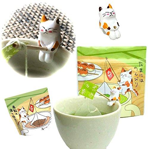 緑茶ティーバッグ2袋『にゃんこティーバッグ』みたらしちゃん付 ティーバッグ/煎茶・かりがねほうじ茶 3g×10個入×2袋 ねこ茶