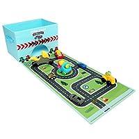 (ライブメモリー) Livememory 子供用車玩具 蓋つき 高速道路マット 収納箱 (車は含まれていません)-空色