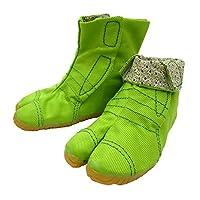 柄の裏地がお洒落なカラー足袋 ショート(グリーン・13.0cm)マジックテープ式 子供祭り足袋