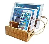 [veesee]竹製 卓上 充電スタンド 多功能充電ホルダー 木目調 iPhone Android iPod iPad Mac PC など対応 (竹製小型)