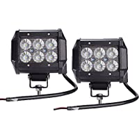 LED作業灯 ワークライト サーチライト 広角タイプ 6連 18W 10-30vDC(12V/24V兼用) 除雪車のライト、集魚灯、看板灯、船舶/トラック/各種作業車対応 2個セット