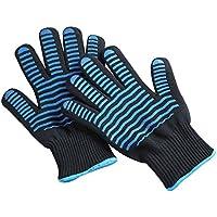 耐熱グローブ 耐熱手袋 5本指 バーベキューBBQ手袋 鍋つかみ ミトン 耐熱 アウトドア 2枚セット 短いタイプ (ブラック)