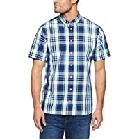 TOMMY HILFIGER Men's Oversized Tartan Print Short Sleeve Shirt, Bw/Medieval Blue/Rain Forest