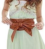 (R-Dream) レザー サッシュベルト つやつや カラバリ豊富 (キャメル) スカート リボン ドレス 結婚式 パーティー ウエスト ベルト リング タイ 制服 ファッション 大きいサイズ おおきい (camel)