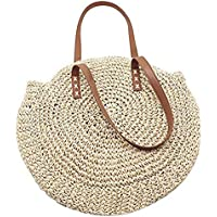 Woven Bag Round Straw Shoulder Bag, Crossbody Bag, Woven Beach Bag,Straw Crossbody Bag Women Weave Shoulder Bag Round Summer Beach, Handle Handbags Purse With Zipper For Ladies Girls