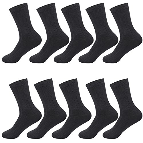 Hisitosa メンズソックス ビジネスソックス 銀イオン 抗菌 防臭 吸汗 通気性抜群 10足組 ワンサイズ リブ靴下 (ブラック)
