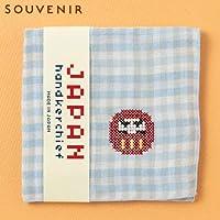 JAPANステッチハンカチーフダルマ刺繍入りガーゼハンカチスーベニール京都Japanese pattern embroidered gauze handkerchief
