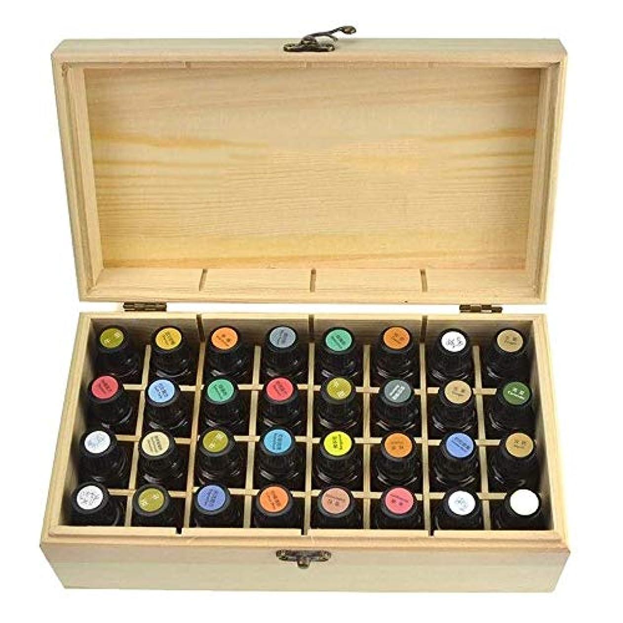 クロニクル飲料強度TYUIO エッセンシャルオイルケース/ボックス、大型32ボトル保管主催。ナチュラルパインウッド。