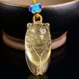小熊水晶 手彫り シトリン 蝉 ペンダント パワーストーン 天然石 黄水晶 11月誕生石