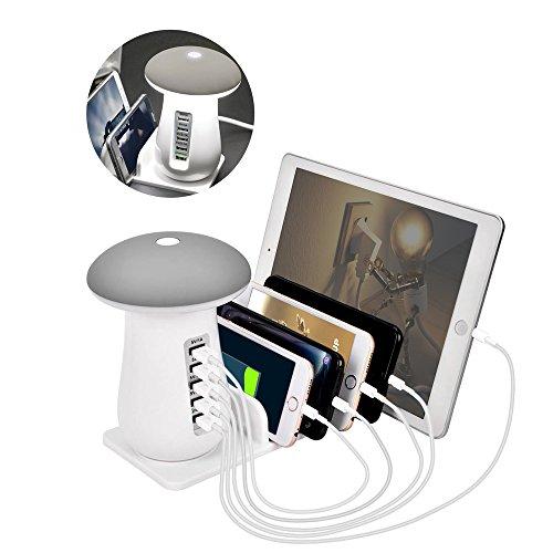 充電ステーション 充電スタンド 5ポート USB充電器 5台同期 急速充電 かわいい led スタンドライト テーブルランプ クレードル 新型 Phone iPod iPad Androidスマホ タブレット