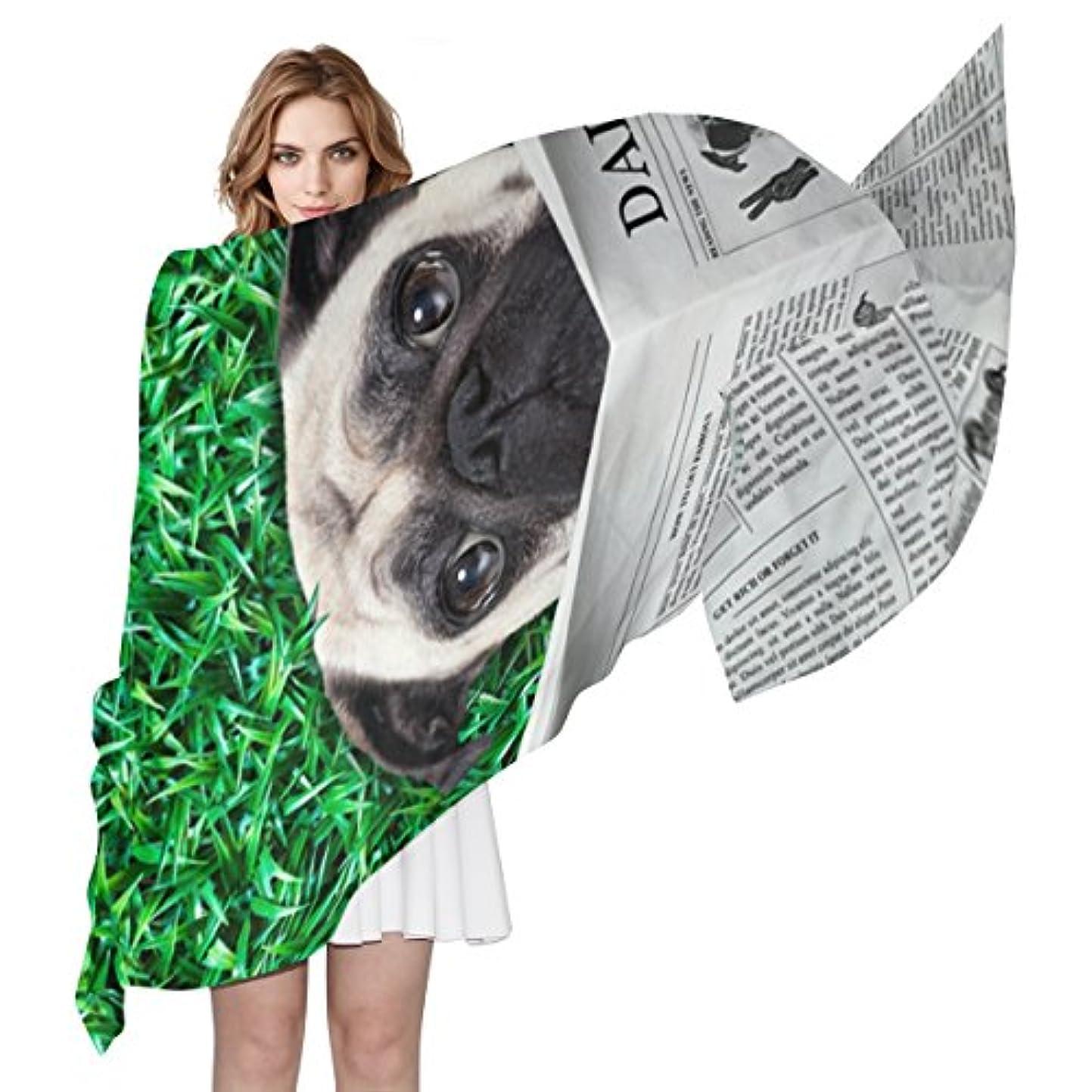 シマウマ岩貧困旅立の店 シルクスカーフ ストール ネッカチーフ マフラー バンダナ  ショール  犬柄 新聞を読む 大判 薄手 優れた肌触り お洒落 高級感 冷房対策 レディース 通勤 旅行 180x90cm