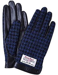 iTouch Gloves ハリスツイード スマホ手袋 手袋 メンズ レディース レザー / 千鳥格子 / ブラック / S