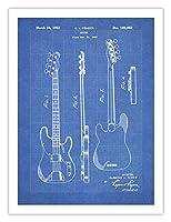 Fender 1951ベースギターポスターBlueprint米国特許印刷18x 24ポスターヴィンテージReproductionギフト額なし