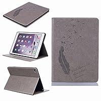 Yiizy Apple Ipad Air 2 (Ipad 6) ケース 手帳型 羽を飲み込みます カバー 本革ソフトレザー 対応 ケース カードポケット スタンド機能 マグネット式 財布型 カバー (グレー)
