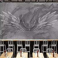 壁画壁紙ヴィンテージグレーセメント壁天使の翼抽象アート壁画ホテルレストランカフェバー壁装飾 420cm x 260cm