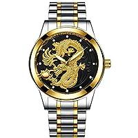 Zxinsp時計男性ドラゴン女性腕時計高級クォーツゴールド時計防水ステンレス発光男性、男性12