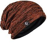 メンズ 大きいサイズのニット帽 ニットキャップ ゆるビーニー帽 オールシーズン ユニセックス B5001 (Rust)