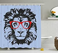 Ambesonne Animal Shower Curtain, Grunge Lion Portrait with Hipster Glasses Nerd Humor Comic King Illustration, Fabric Bathroom Decor Set with Hooks, 70 Inches, Blue Red Charcoal Grey [並行輸入品]